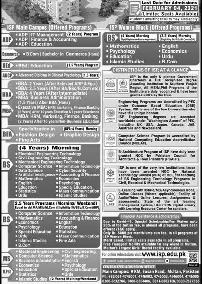 Institute Southern Punjab ISP Admission Spring 2021 Application Form