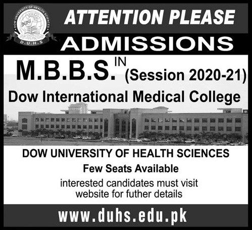 Dow Medical College Karachi Admission 2021 MBBS BDS Application Form Procedure to Apply Medical College in Sindh