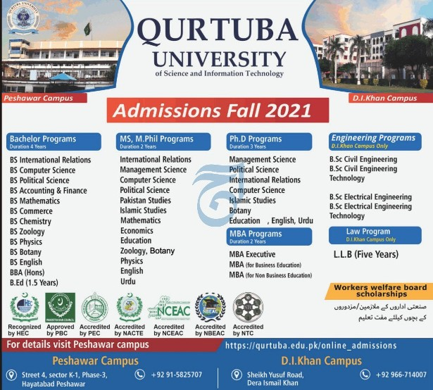 Qurtuba University D I Khan Admission 2021 Application Form Eligibility Criteria Procedure