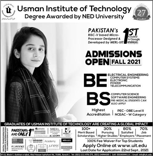 Usman Institute of Technology Karachi NED University Admission 2021 Application Form Important Dates