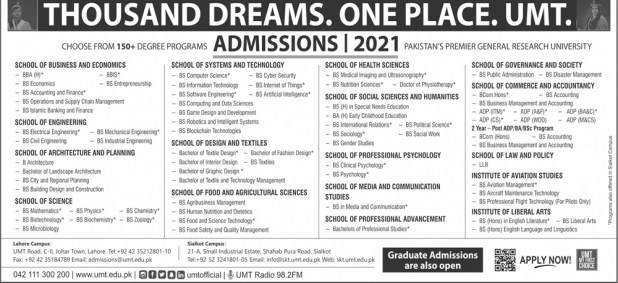 UMT University of Management and Technology Graduate Admission 2021 Entry Test Application Form Last Date