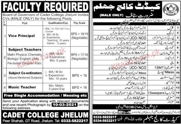 Cadet College Jhelum Jobs 2021 Registration Form the Last date of Submission Eligibility Criteria