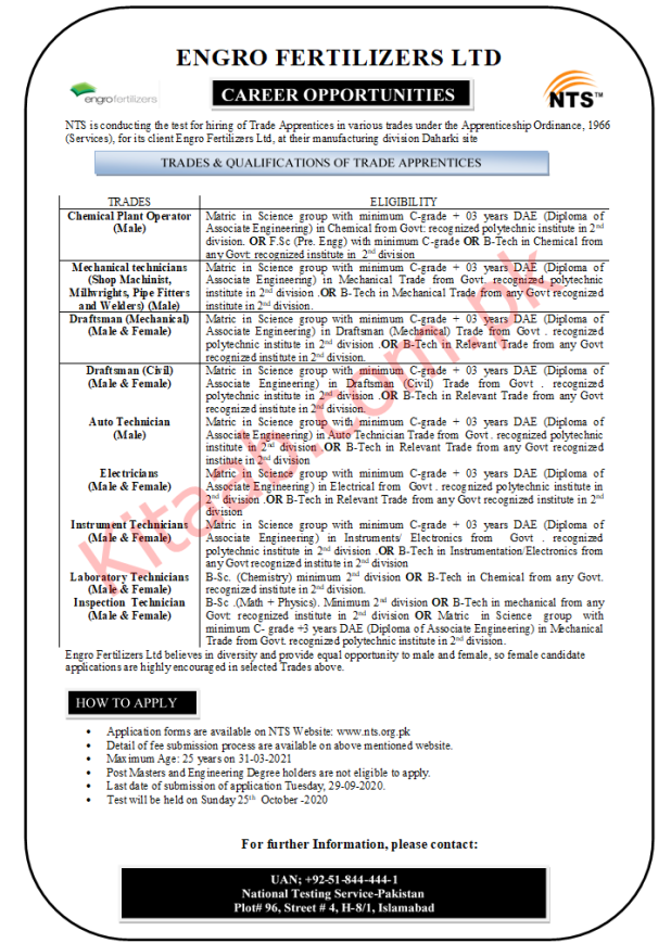 Engro Fertilizers Limited Trade Apprentices Jobs 2020 NTS Test Form Download Dates Schedule