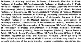 King Edward Medical University KEMU Lahore Jobs 2021 Application Form Schedule