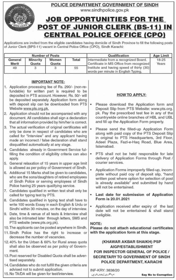 Govt Sindh Karachi Police Jobs 2021 Application Form Written Test