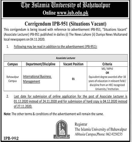 Islamia University Bahawalpur Associate Lecturer Jobs 2020 IUB Online Application Form Eligibility Criteria Dates and Schedule