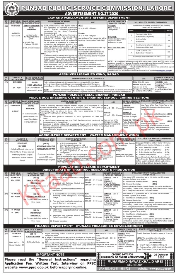 Law and Parliamentary Affairs Department PPSC Jobs 2020 Online Registration Form Eligibility Criteria