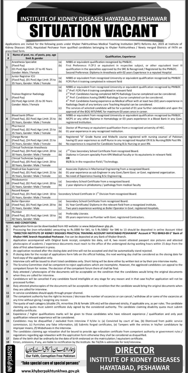 Institute of Kidney Diseases IKD Peshawar Jobs 2020 Application Form Eligibility Criteria