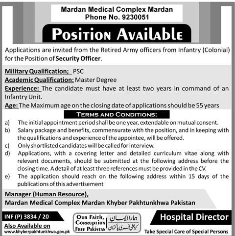 Mardan Medical Complex MMC Jobs 2020 Application Form Eligibility Criteria