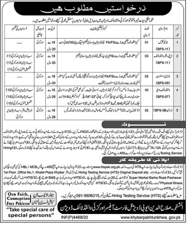 Wildlife Department Khyber Pakhtunkhwa HTS Jobs 2020 Online Application Form Eligibility Criteria
