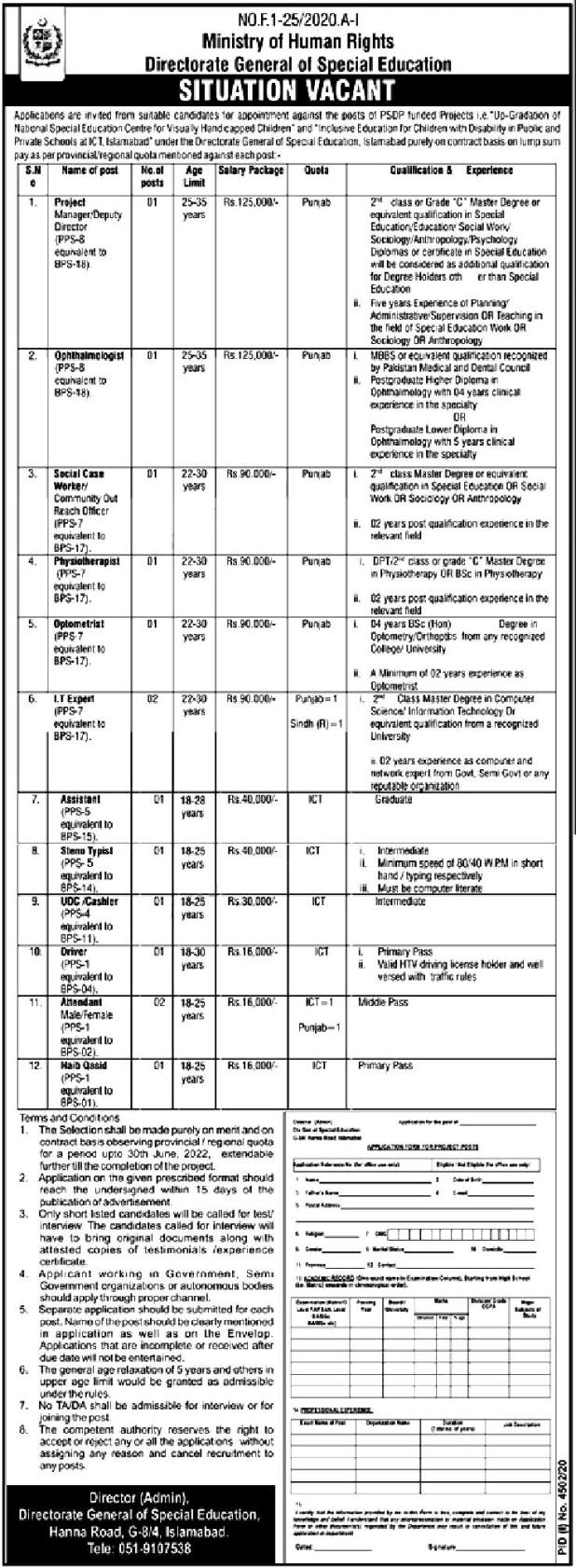 Ministry of Human Rights Jobs 2021 Application Form Eligibility Criteria Last Date