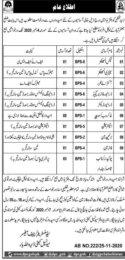 Municipal Committee MC Jaffarabad Jobs 2021 Application Form Eligibility Criteria