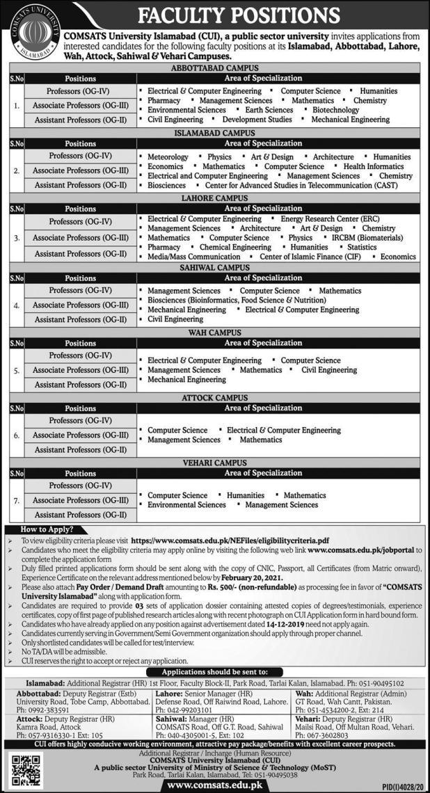 COMSATS Islamabad University CUI Jobs 2021 Eligibility Criteria Application Form Details