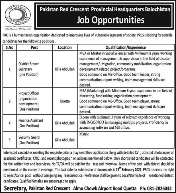 Pakistan Red Crescent Society PRCS Jobs 2021 Application Form Terms and Conditions