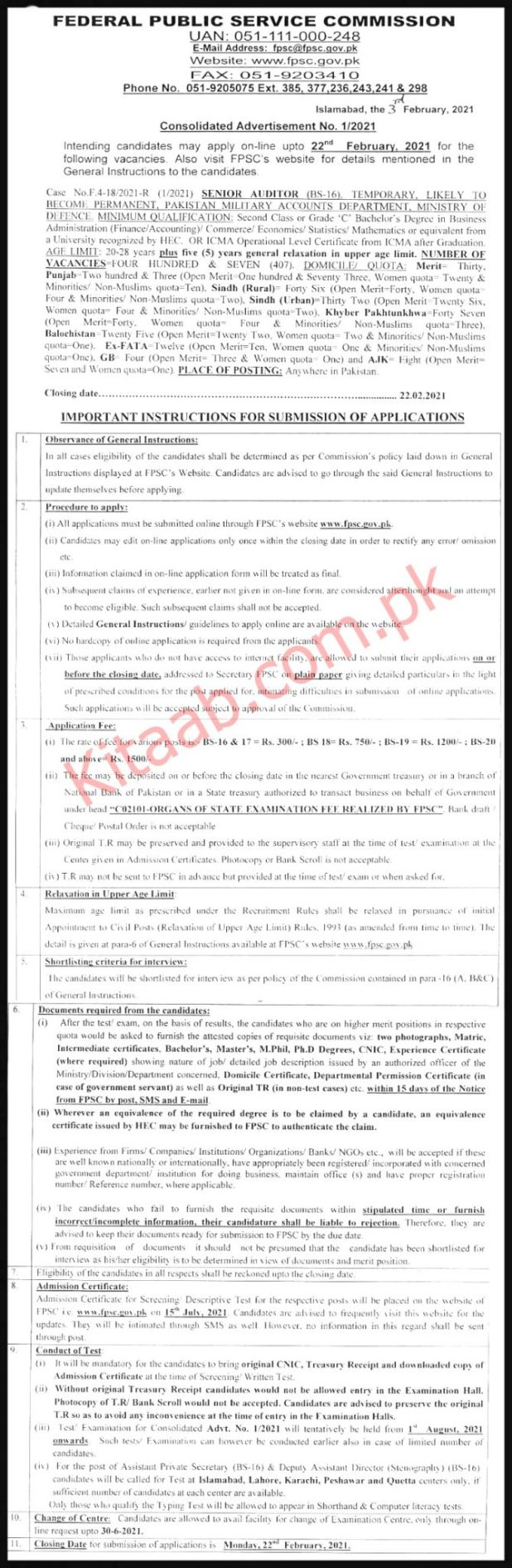 Pakistan Military Accounts Department, Ministry of Defence FPSC Jobs 2021 Online Apply Last Date