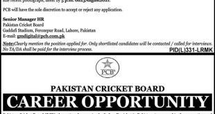 Pakistan Cricket Board PCB Jobs 2021 Application Forms