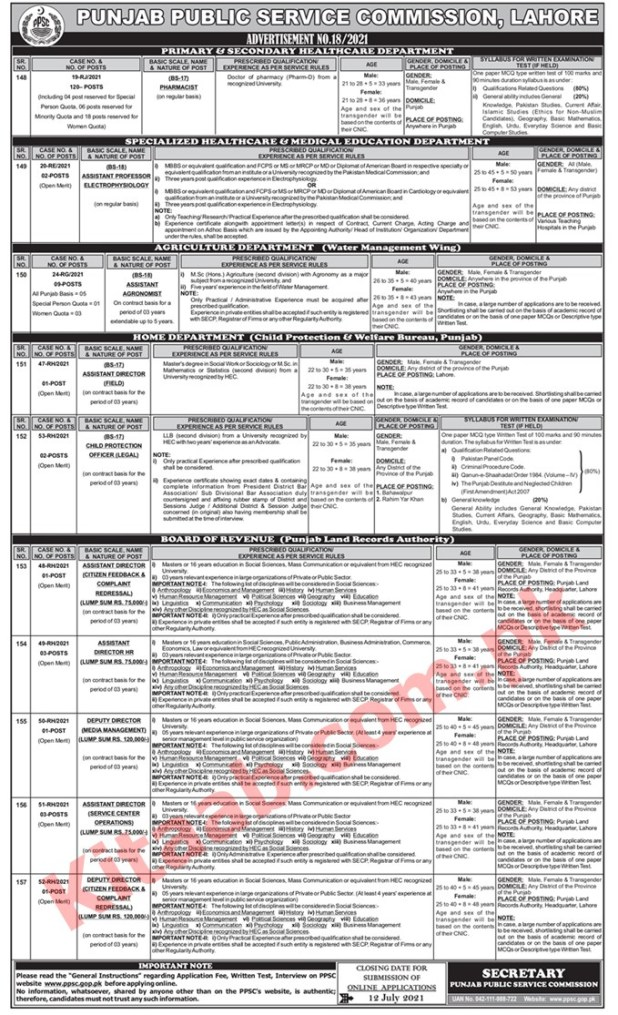 Primary & Secondary Healthcare And P&D Department PPSC Jobs 2021 Online Apply