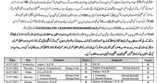 BISE Faisalabad Board Matric 9th 10th Class Date Sheet 2021 Exams Schedule of Part 1, 2