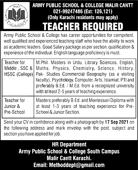 Army Public School and College Jobs 2021 Apply Online Roll Number Slip Answer Key Result Merit List