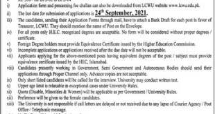 Lahore College for Women University Jobs 2021 Teaching Faculty & Others LCWU