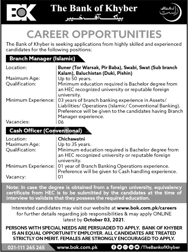 BOK Bank of Khyber Jobs 2021 Qualification Apply Online Branch Managers & Others