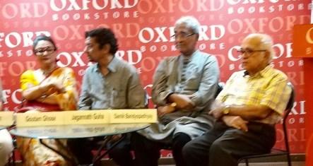 Panellists from left to right: Aparna Sen, Gautam Ghose, Jagannath Guha, Saumik Bandopadhyay