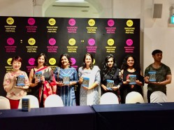 Some of the writers from Best Asian series, Moderator Dr Pallavi Narayan, Shabana Zahoor from Kitaab