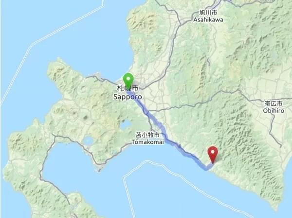 札幌から静内二十間道路桜並木へのルート