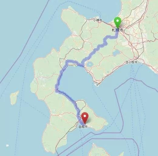 車移動マップ 札幌~五稜郭公園