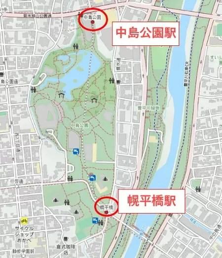中島公園周辺の駅マップ