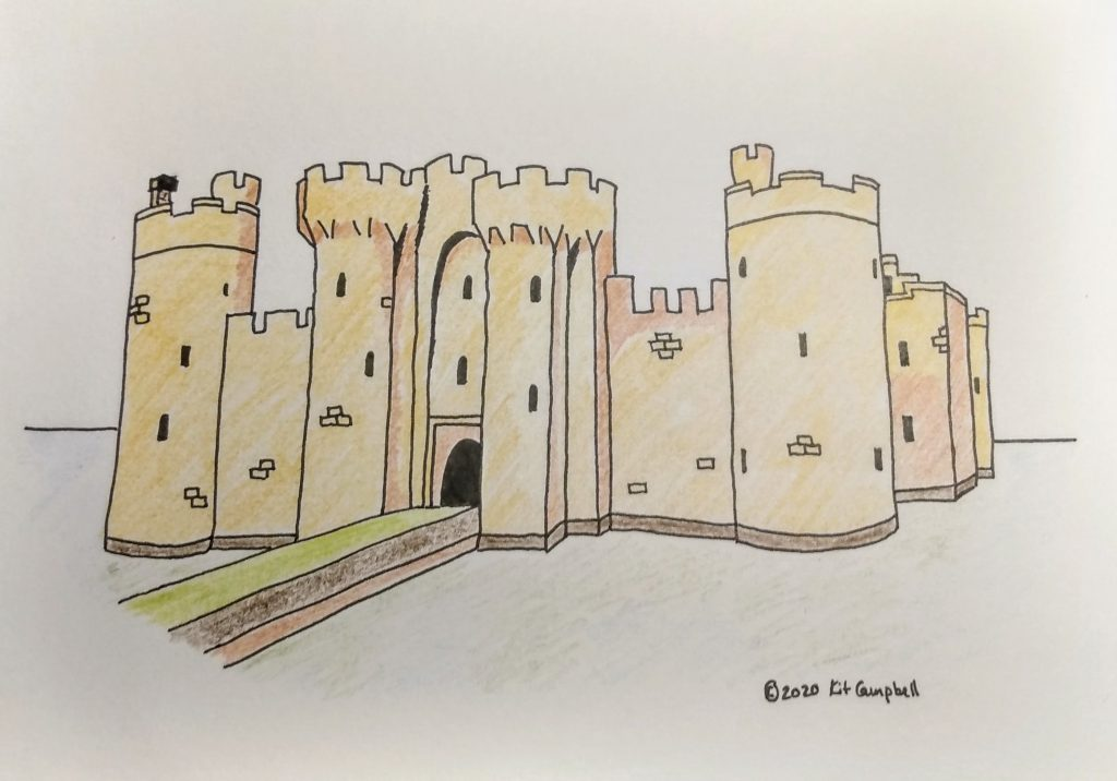 castle drawing, colored with colored pencils