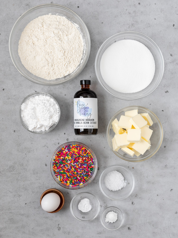 All of the ingredients for funfetti cookie sandwiches