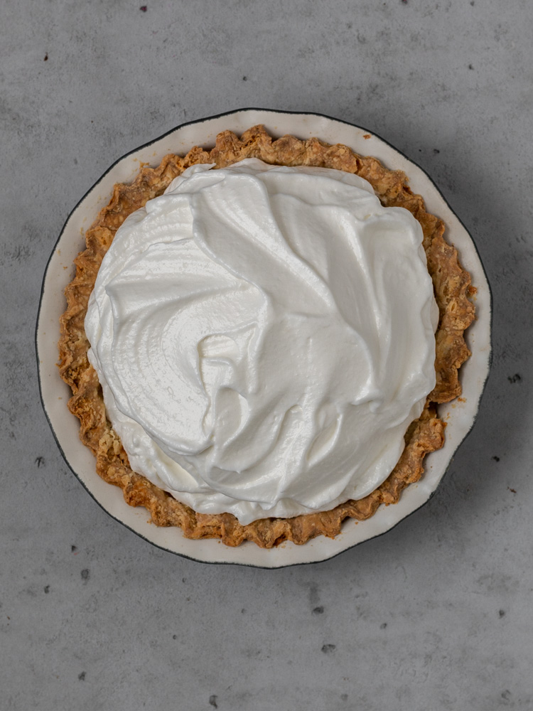 Untoasted meringue on top of a pie