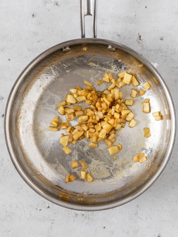 Apple pie filling in a pan