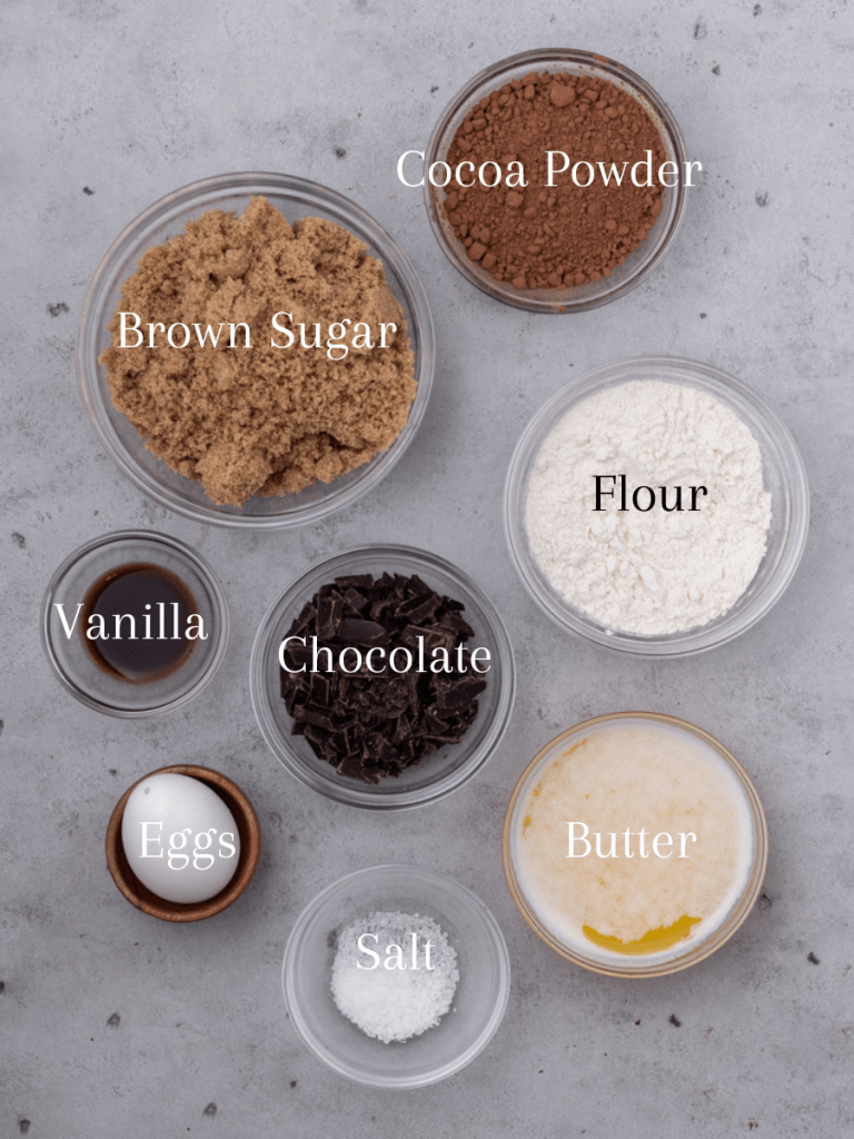 Ingredients for fudgy homemade brownies