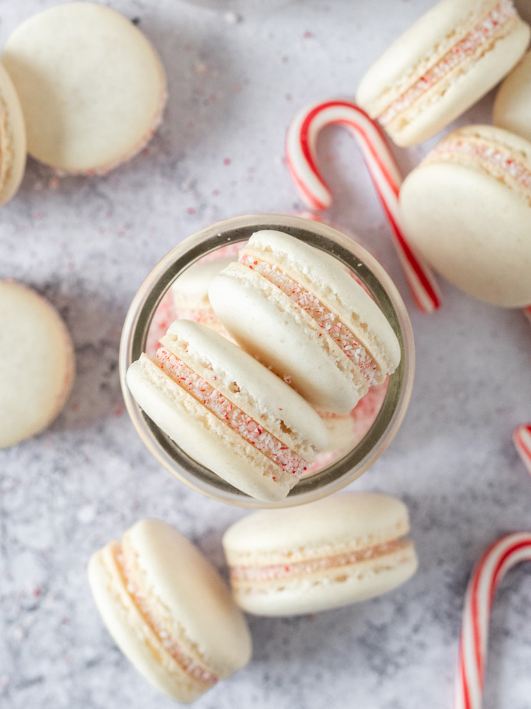 Looking down on a stack of french macarons