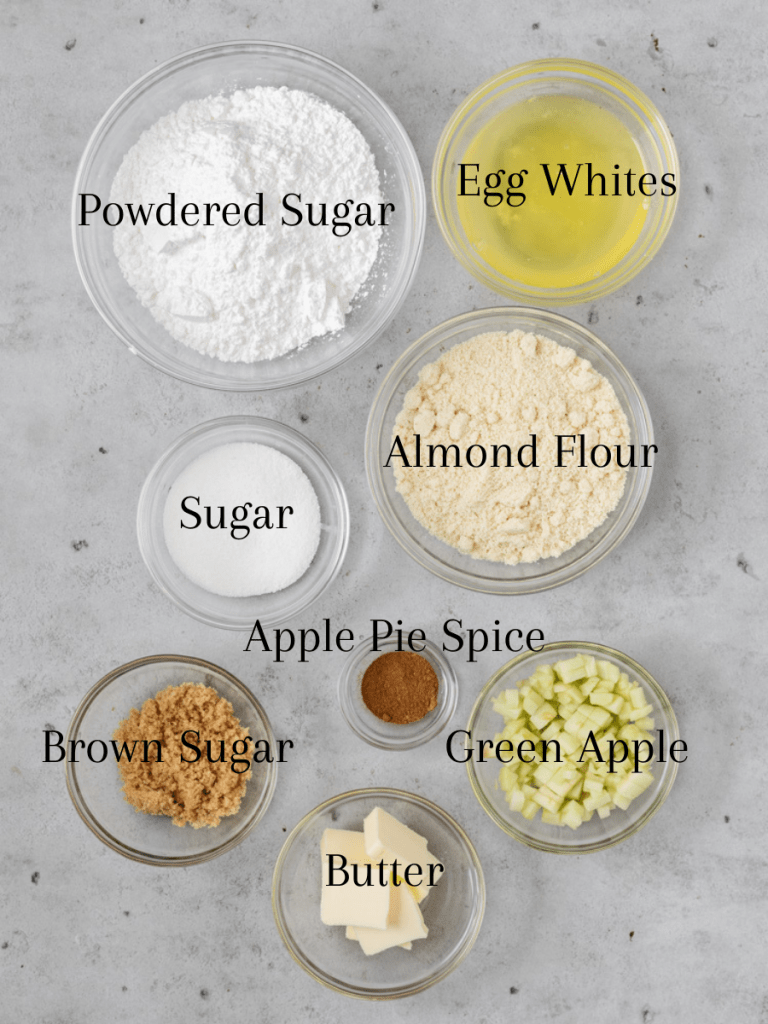 All of the ingredients for apple pie macarons