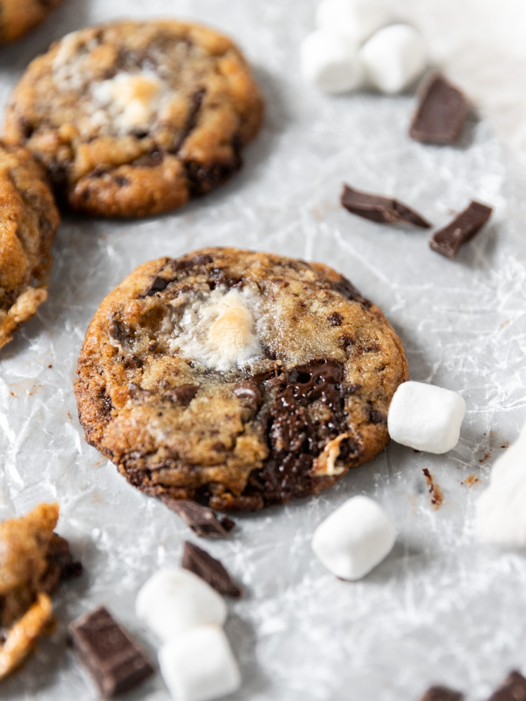 A chocolate chip marshmallow cookie surrounded by chocolate and mini marshmallows