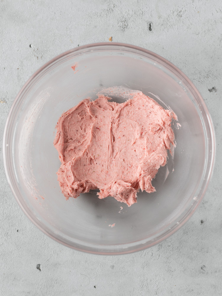 A bowl of strawberry american buttercream