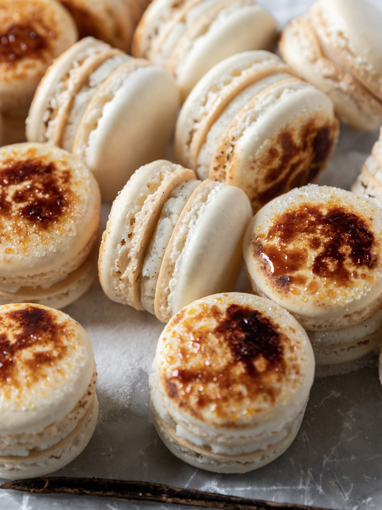 Crème Brûlée Macarons from the side