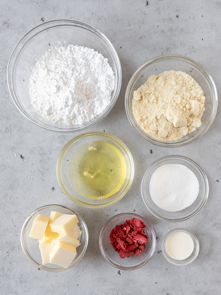 All of the ingredients for macarons