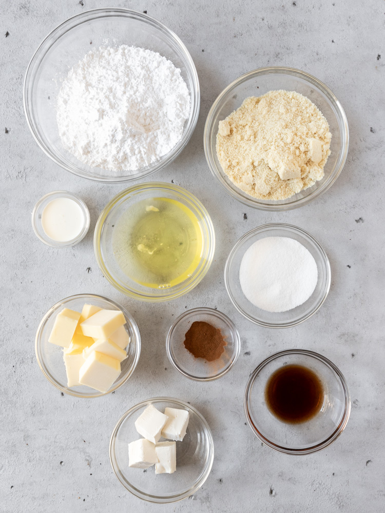 all of the ingredients needed to make cinnamon roll macarons