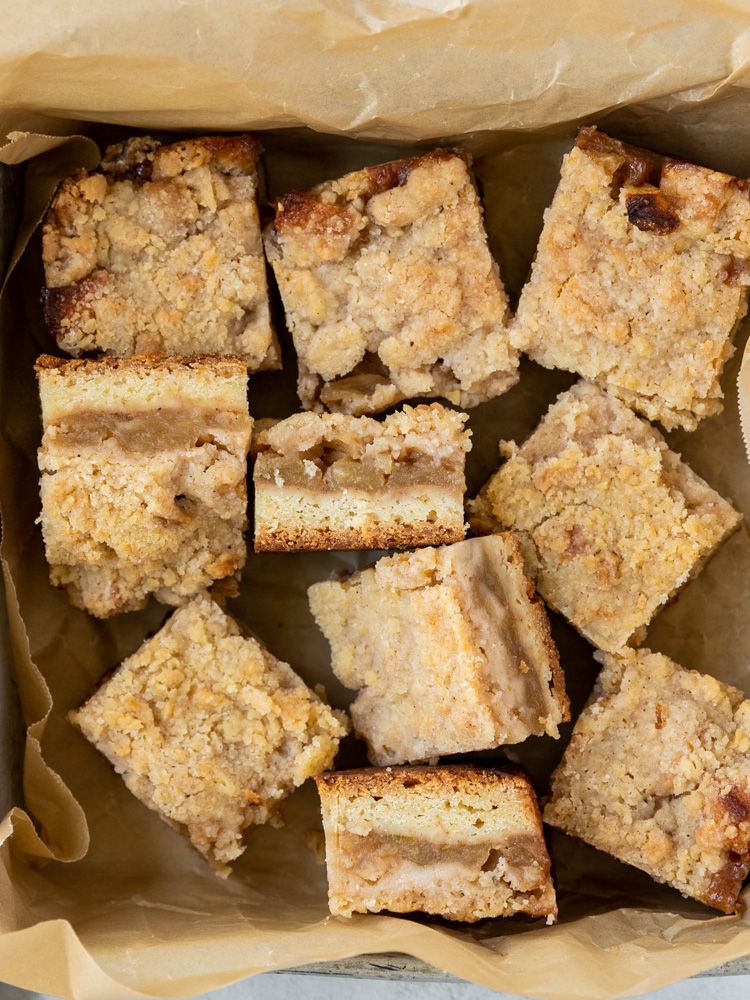 Looking down on a pan of apple crumble bars