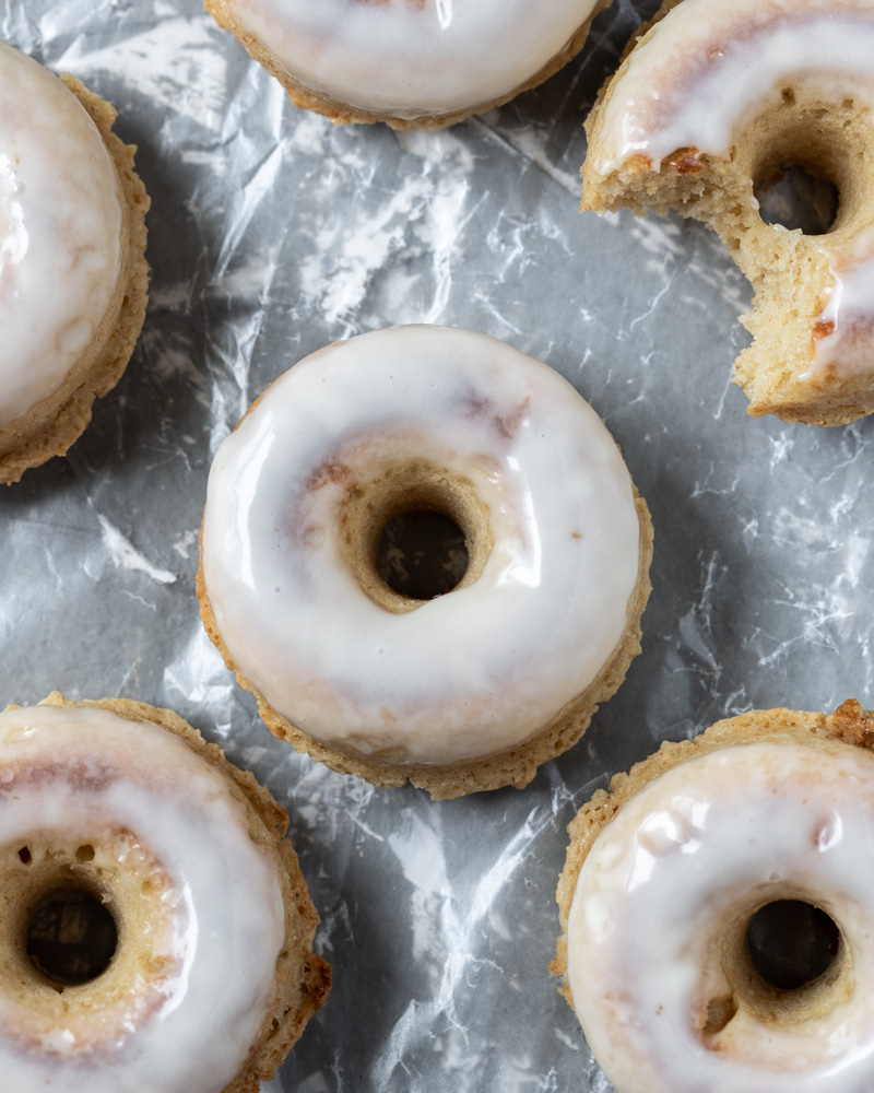 Looking down on brown butter baked donuts