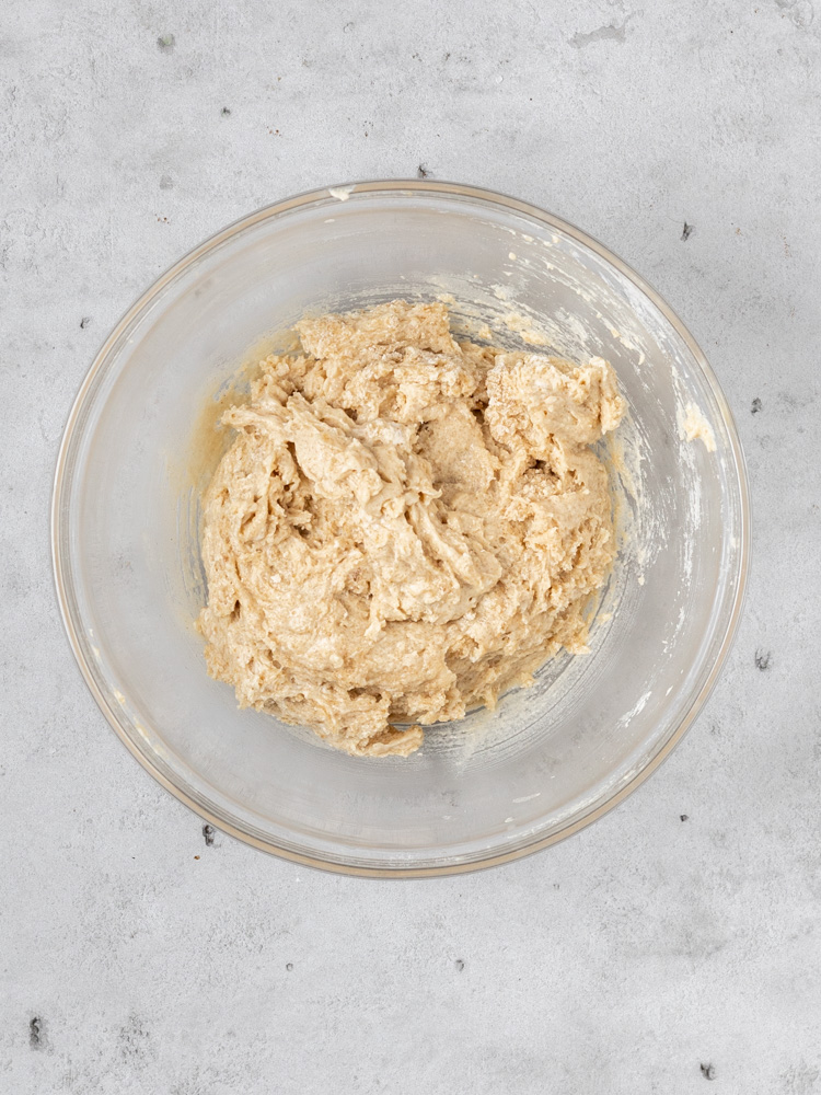 The wet and dry ingredients combined to make a batter