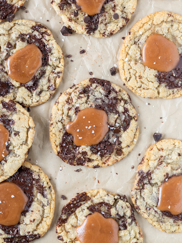 Looking down on caramel chocolate chip cookies