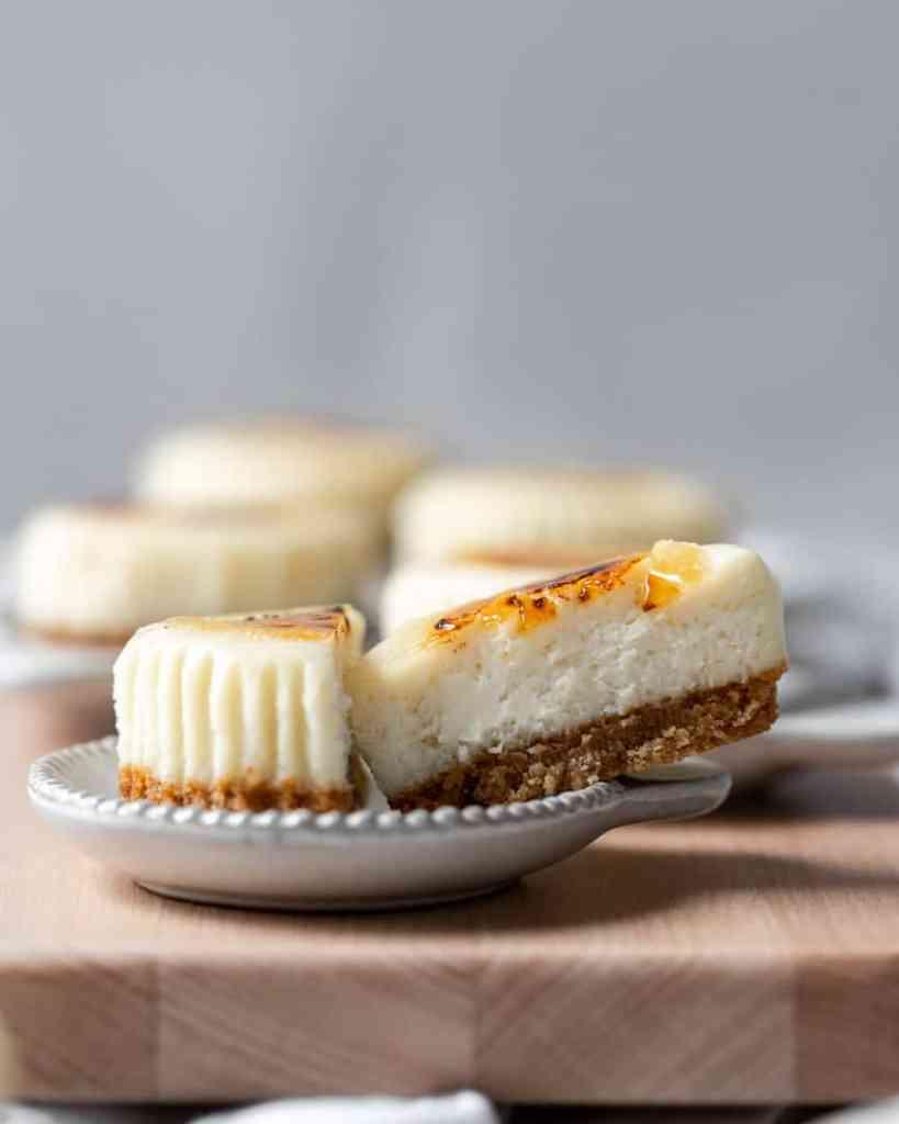 A close up of a mini cheesecake