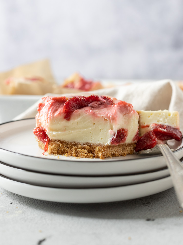 A cheesecake bar on a plate