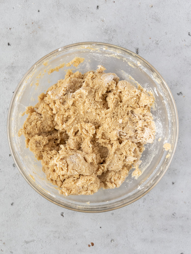 The wet and dry ingredients combined to make the cookie dough