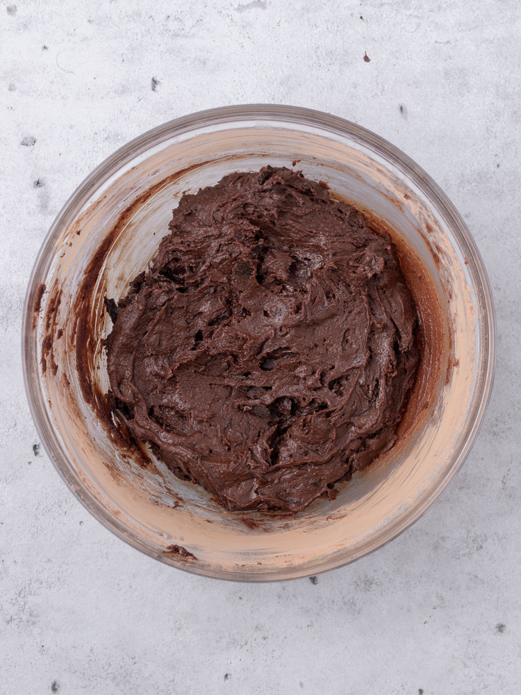 The completed brownie batter in a bowl